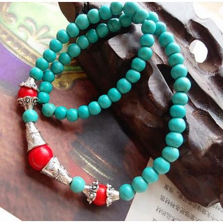 Pulsera de Turquesa roja y azul