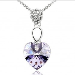 Necklace with Purple Crystal Heart Pendant