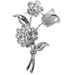 Silver Color Brooch with 2 Flowers