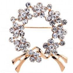 Golden Color Brooch with Crystals