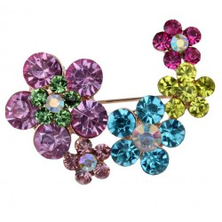 Brooch with Multicolor Flowers