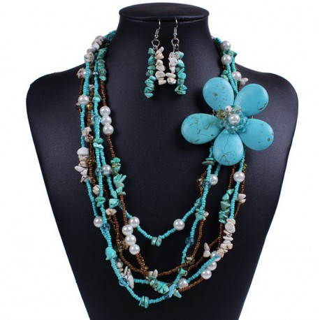 Conjunto collar y pendientes Hawai