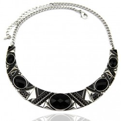 Black Resin Bead Choker Necklace Arabella