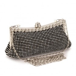 Black Clutch Bag with Crystals
