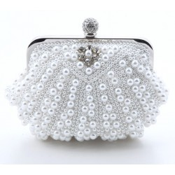 Shell-Shaped Imitation Pearls Evening Bag