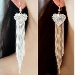 Pendientes elegantes con corazón y cristales