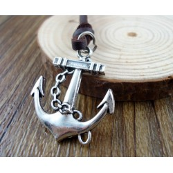 Anchor Pendant Leather Necklace