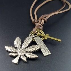 Leather Vintage Maple Leaves Pendant Necklace
