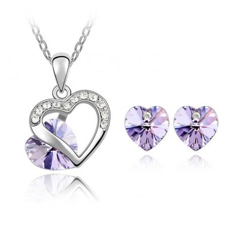 Conjunto collar y pendientes con corazón de cristal