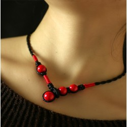 Handmade Necklace with Red Stones