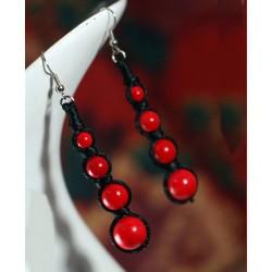 Pendientes artesanales con Coral Rojo