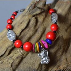 Pulsera con Coral rojo, conchas y Elefante de la suerte