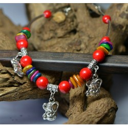 Color Stone and Elephant Pendants Anklet