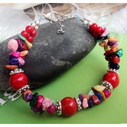 Pulsera de Piedras multicolor y Coral rojo