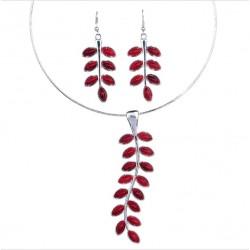 Conjunto collar y pendientes con ramitas de Hojas Rojas