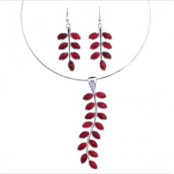 Jewelry Set Necklace and Earrings with Red Leaves