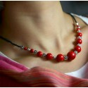 Red Stone Beads Necklace with Tibetan Silver Roses