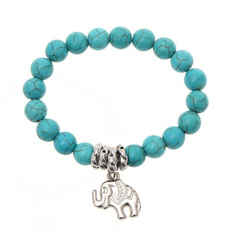 Turquoise beads bracelet with Elephant