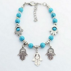 Turquoise Beads Bracelet with Fatima Hands Pendants