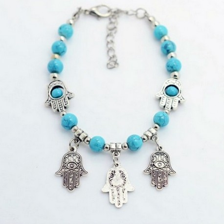 Bracelet with hamsa hand fatima pendant natural turquoise beads bracelet with fatima hands mozeypictures Image collections