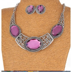 Jewelry Set Necklace and Earrings With Violet Stones