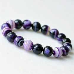 Purple Natural Agate Beads Bracelet