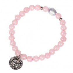 Natural Rose Quartz Bracelet with Tibetan Silver Pendant