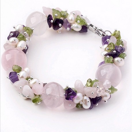 Rose Quartz, Pearls and Amethyst Stone Beads bracelet