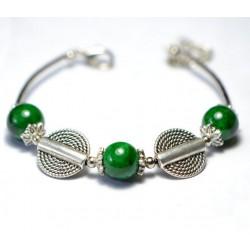 Bracelet with Malachite Stones and Tibetan Silver