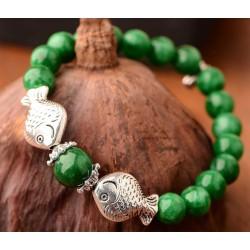 Natural Malachite and Tibetan Silver Fish Bracelet
