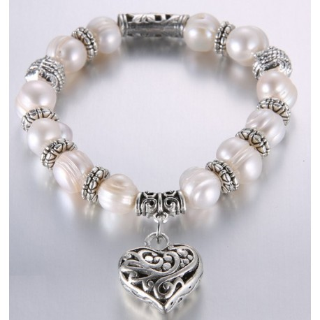 Natural Pearl bracelet with Tibetan silver charms
