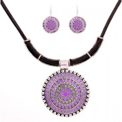 Geometric Set Necklace and Earrings with Purple Flower