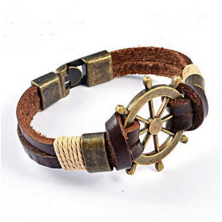 Vintage Stainless Steel and Genuine Leather Bracelet