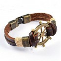 Vintage Steel and Genuine Leather Bracelet