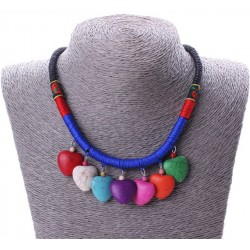Colourful Heart Tassels Drop Necklace