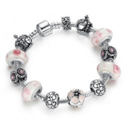 Pulsera plata 925 con abalorios plateados y cristal rosa-blanco