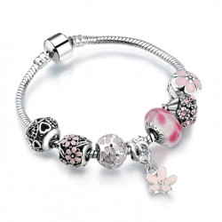 European Charms Bracelet with Flower Pendant