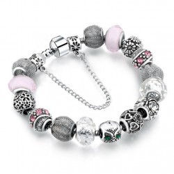 European Charms Bracelet with Pink and White Crystal Beads