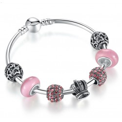 European Style Bracelet with Silver Charms and Pink Murano Glass