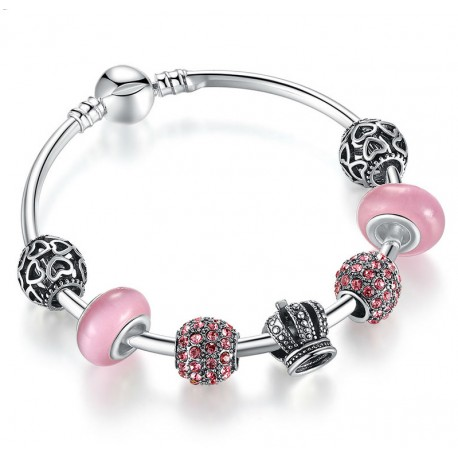 European style bracelet with silver charms and Pink Murano Glass Ball