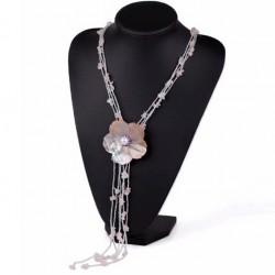 Collar de Quarzo rosa y Flor de Conches con Perla
