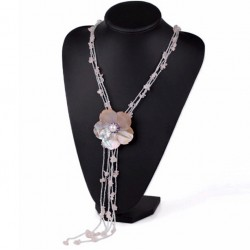 Natural Pearl, Shell Flower And Rose Quartz Necklace