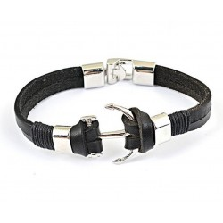 Genuine Leather Bracelet with Anchor