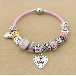 Pink Leather Crown Charms Bracelet