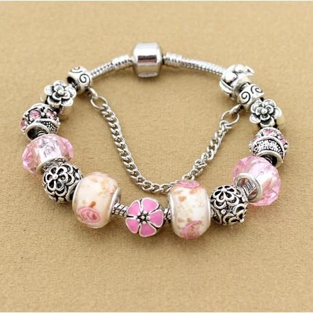 Flower charm beads bracelet