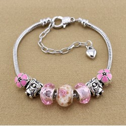 Murano glass beads, owl and flower charms bracelet