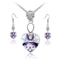 Necklace and Earrings Set with Purple Crystal Heart