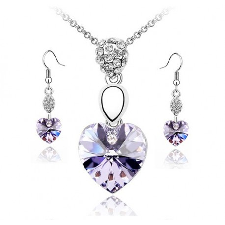 Necklace and Pendants set with purple heart