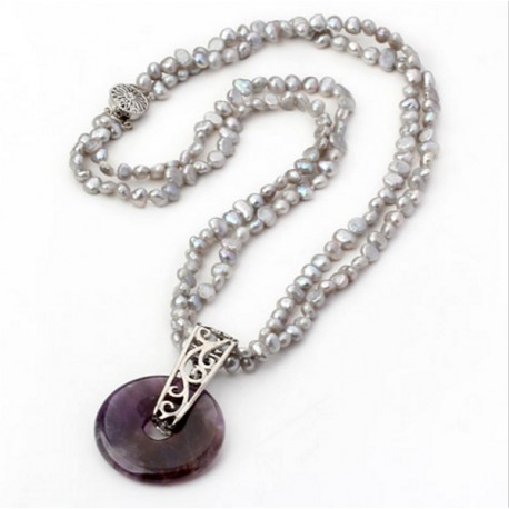 Grey pearl necklace with amethyst pendant grey freshwater pearl and amethyst pendant necklace aloadofball Gallery
