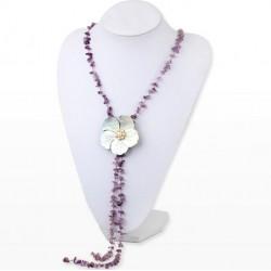 Collar de Amatista y Flor de Conchas con Perlas